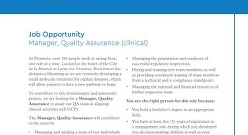 Manager, Quality Assurance (clinical)