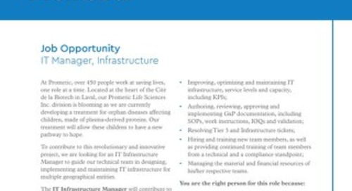 IT Manager, Infrastructure