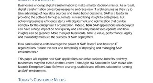 Lenovo's Scalable Solutions for SAP Applications