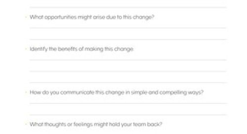 Leading Your Team Through Change - Tool