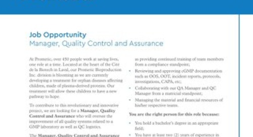 Manager, Quality Control and Assurance