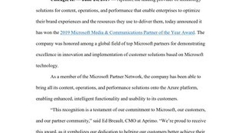 Aprimo Recognized as Winner for 2019 Microsoft Media & Communications Partner of the Year