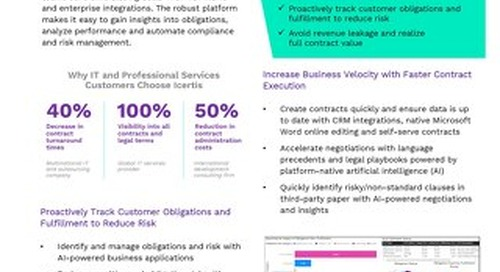 Fact Sheet | Icertis Contract Intelligence for IT & Professional Services