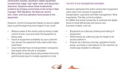 Datasheet: Digital Keys on Equipment means New Business Models
