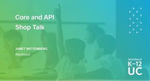 Core and API Shop Talk