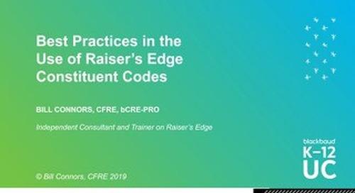 Best Practices for Raiser's Edge Constituent Codes