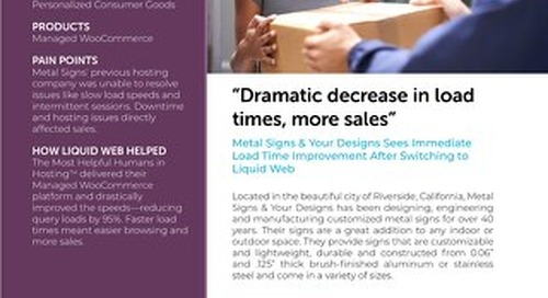 """""""Dramatic decrease in load times, more sales"""" - Metal Signs & Your Designs Case Study"""