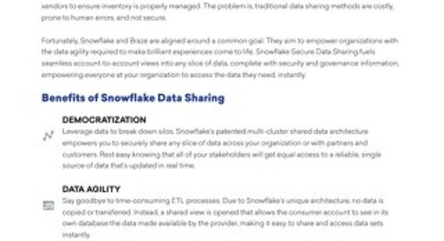 Braze, Snowflake Partnership Empowers Organizations to Make Brilliant Experiences come to Life Through Data Sharing
