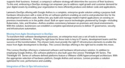 Lenovo DevOps Validated Design for Google Anthos on ThinkAgile VX