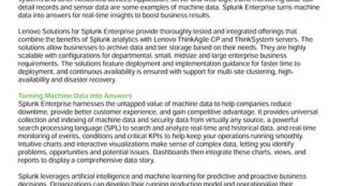 Lenovo Big Data Solutions for Splunk Enterprise