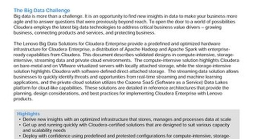 Lenovo Big Data Solutions for Cloudera Enterprise