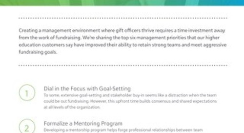 Tip Sheet: 6 Talent Management Strategies for Higher Ed Fundraisers (Part 3)