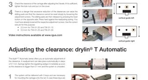 drylin T Clearance Adjustment Instructions