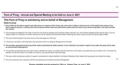 Formulaire de procuration 2020