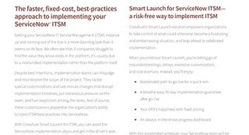 Info Sheet: Smart Launch for ITSM