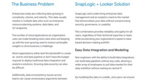 Looker & Snaplogic: A Solution for Enterprise Data Democratization