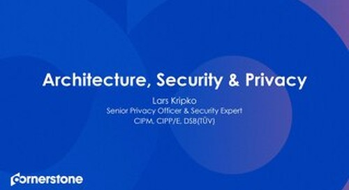Architecture, Security & Privacy Overview from our meeting in September 2019