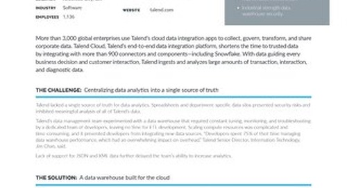 Talend: Accelerating Data Governance and Analysis with Snowflake