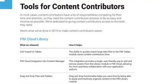 Tools for Content Contributors