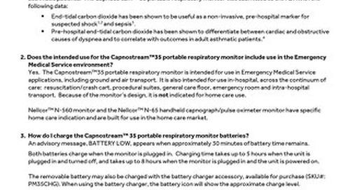 CAPNOSTREAM™ 35 PORTABLE RESPIRATORY MONITOR FAQs