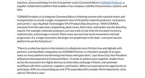 HaulHub - CONNEX Partnership Press Release - September 17, 2019