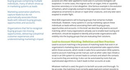 Lead-to-Account Matching: It's Not Just for Attribution Anymore