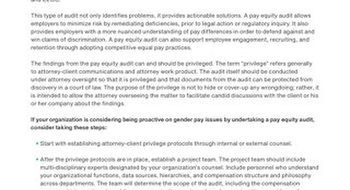 A Pay Equity Audit Provides Protection for Your Organization