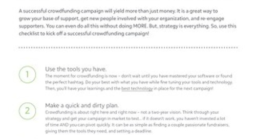 CHECKLIST: 10 Steps to Successful Crowdfunding
