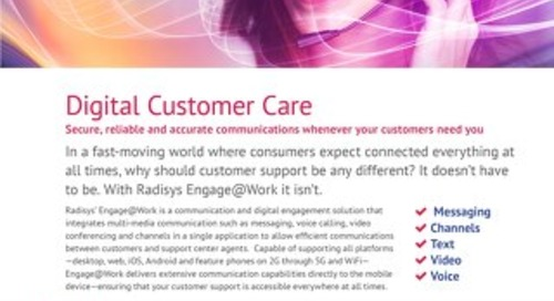 Radisys Engage@Work - Customer Care