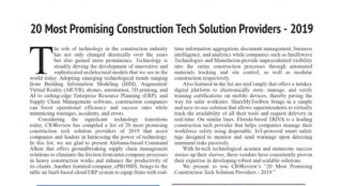 CIO Review 20 Most Promising Construction Tech Providers 2019