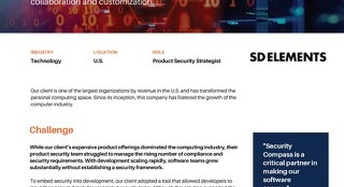 SD Elements Formalizes Organization's Security and Risk Management Process