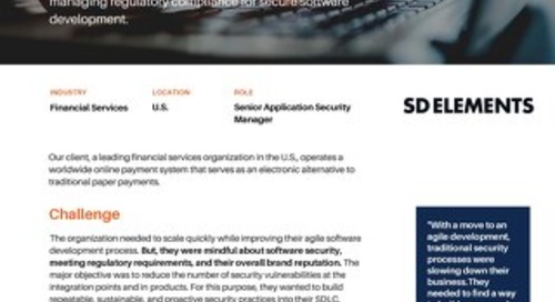 Financial Services Enterprise Uses SD Elements to Transform Software Security