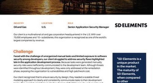 Major American Oil and Gas Enterpirse Uses SD Elements to Establish Threat Modeling Framework