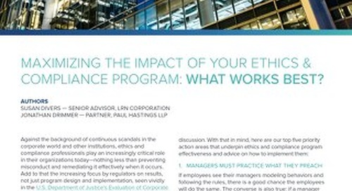 Maximizing Impact of Your Ethics and Compliance Programs: 5 Priorities