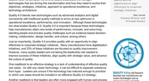 Quality 4.0: Get Educated, Get Involved, and Build a Successful Strategy
