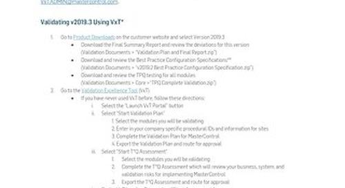 Cloud Documentation & Validation for v2019.3
