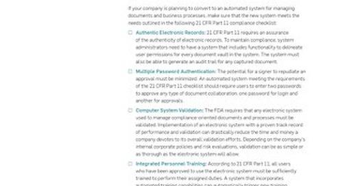 21 CFR Part 11 Compliance Checklist