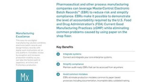 MasterControl Electronic Batch Records™ (EBR)