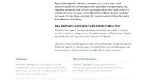 MasterControl Copies™