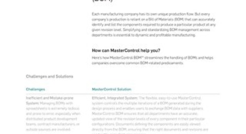 MasterControl Bill of Materials™ (BOM)