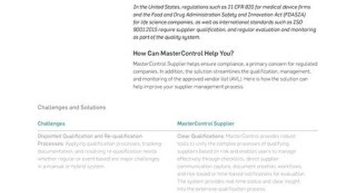 MasterControl Supplier