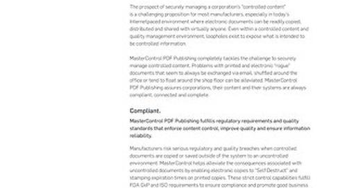 MasterControl PDF Publishing™