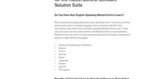 MasterControl Multi-Language Translations