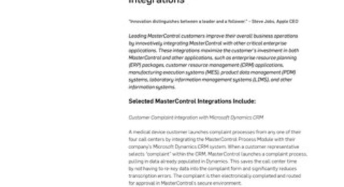 MasterControl Enterprise Integrations™
