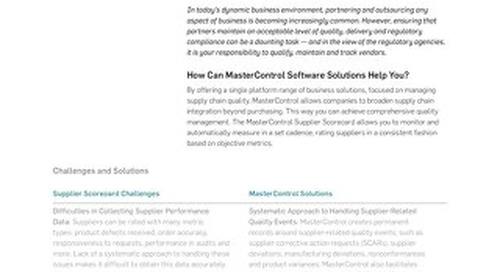 MasterControl Supplier Scorecard™