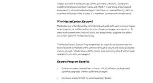 MasterControl Escrow Program