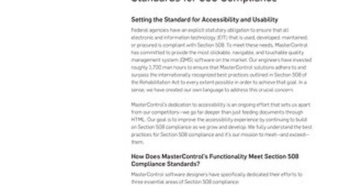 MasterControl Accessibility Standards for Section 508 Compliance Product Data Sheet