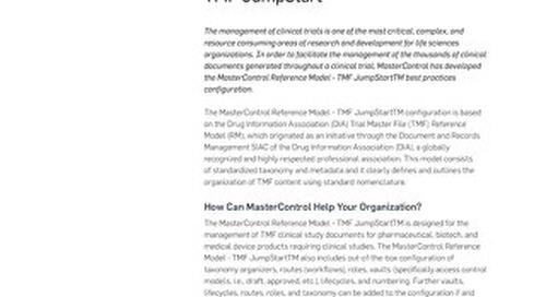 MasterControl Reference Model - TMF JumpStartTM