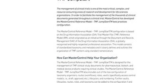MasterControl Reference Model - TMF JumpStartTM