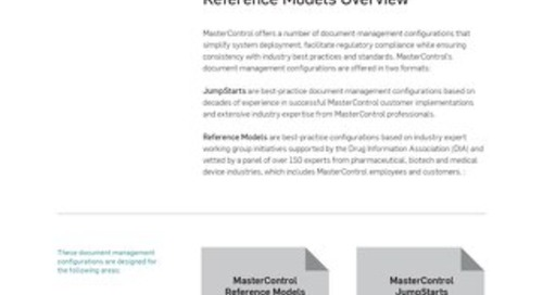 MasterControl JumpStarts and Reference Models Overview
